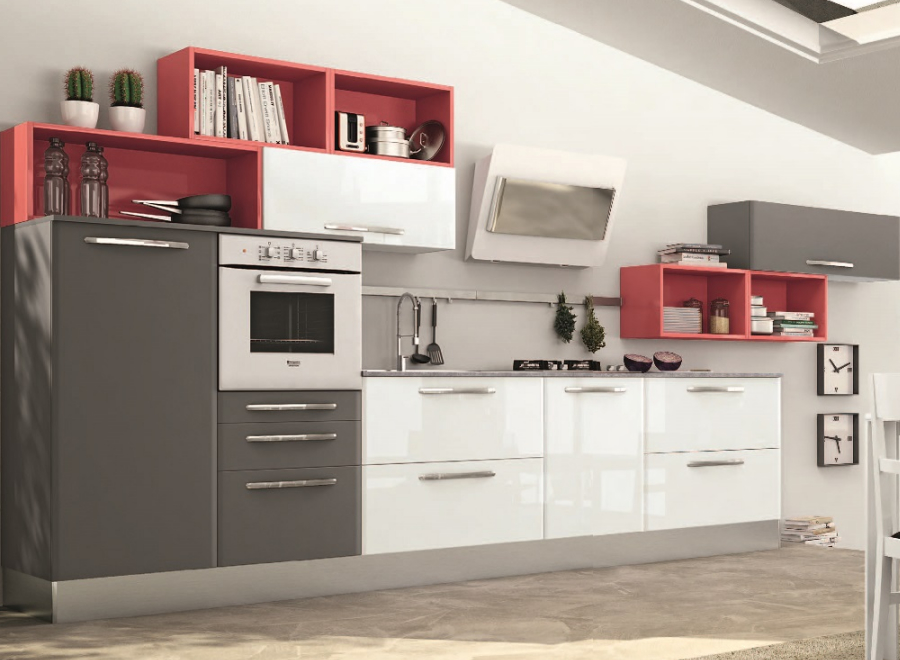 Cucina componibile a vista 01 - Cucine per ambienti piccoli ...