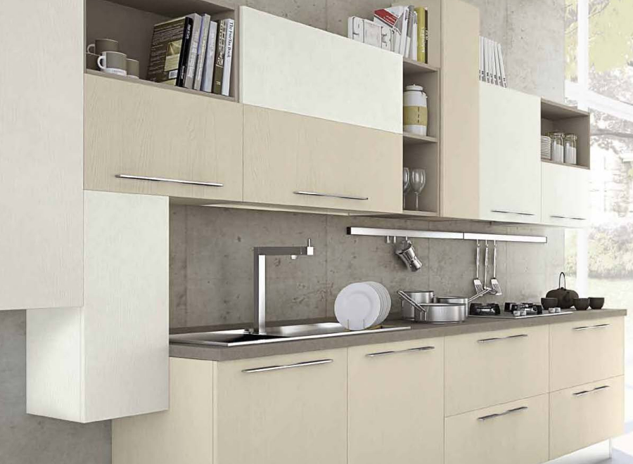 Cucina componibile a vista 06 - Cucine piccoli spazi ...