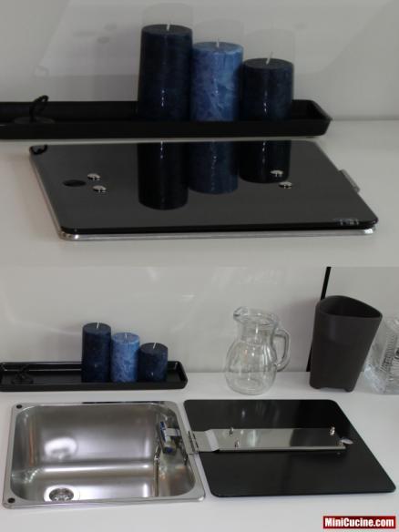 Base cucina con lavello e elettrodomestici a scomparsa 21