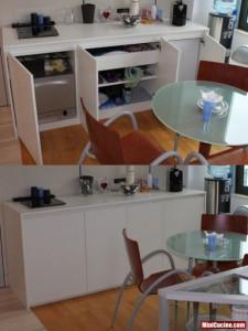 Base cucina con lavello e elettrodomestici a scomparsa 3