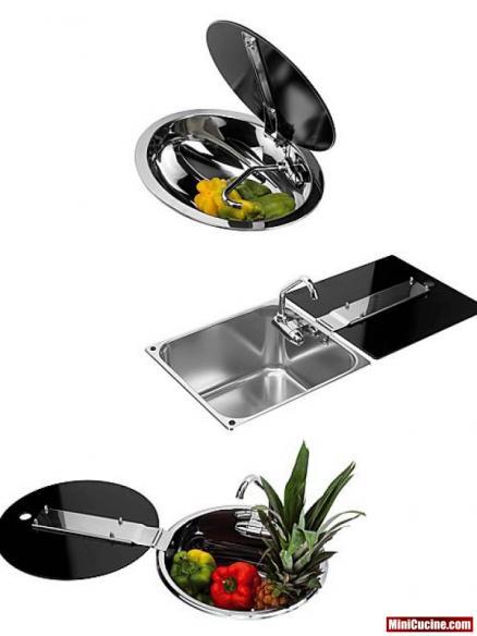 Base cucina con lavello e elettrodomestici a scomparsa 9