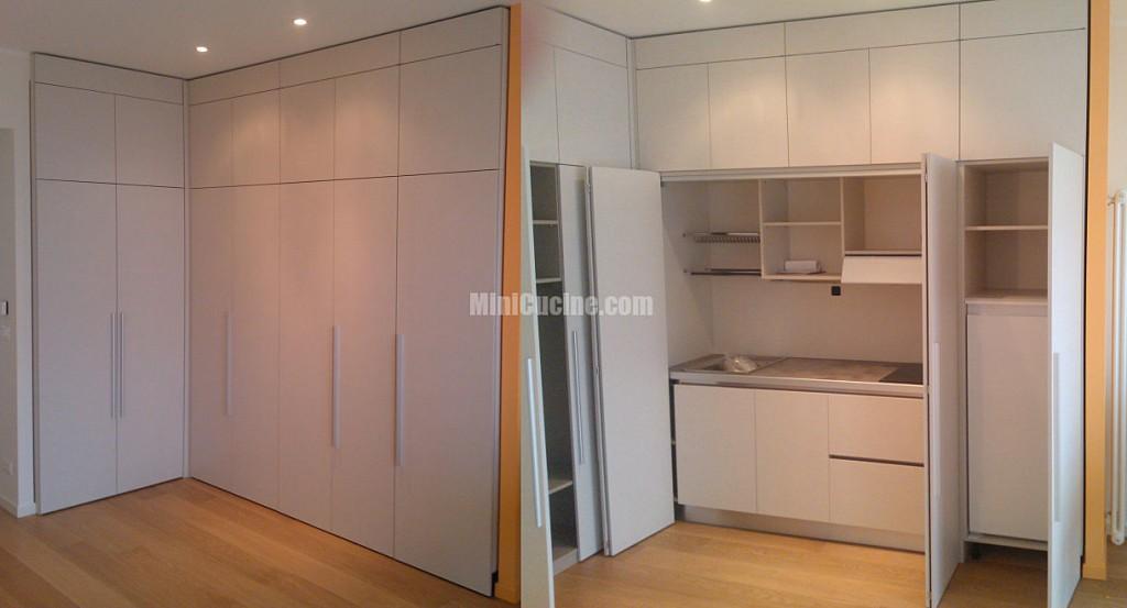 Cucina armadio a scomparsa su misura mini cucine moderne per piccoli spazi - Armadio cucina monoblocco ...