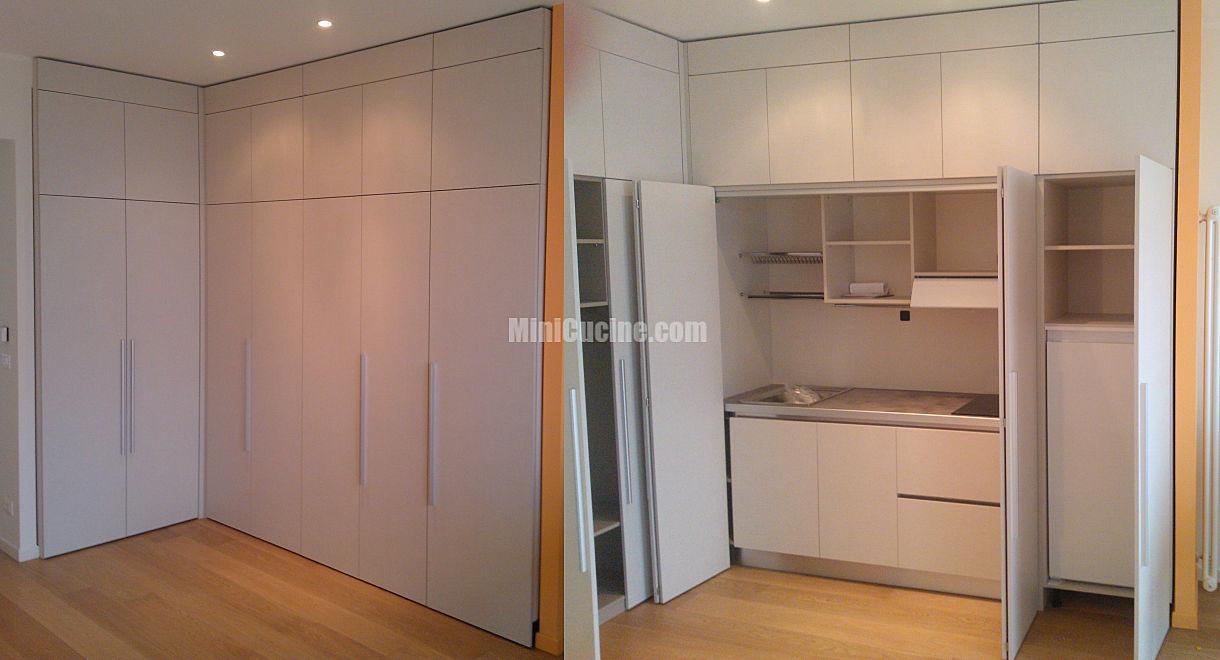 Cucine su misura minicucine cucine moderne per piccoli spazi - Cucine armadio a scomparsa ...
