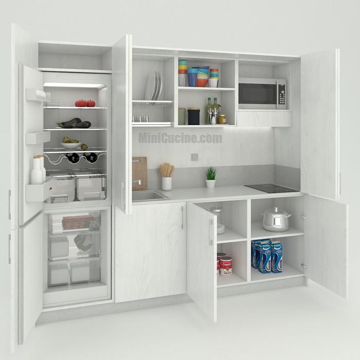 Mini cucina con colonna frigo cm. 244