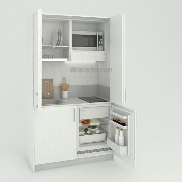 Mini cucina a scomparsa da cm. 124 aperta, monoblocco