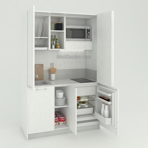 Mini cucina a scomparsa da cm. 139 aperta, monoblocco