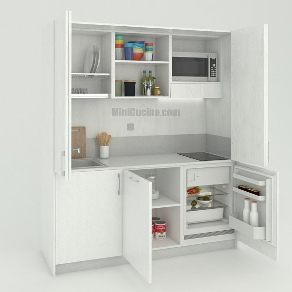 Mini cucina a scomparsa da cm. 184 aperta, monoblocco